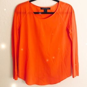 French Connection Red Orange Chiffon Long Sleeve